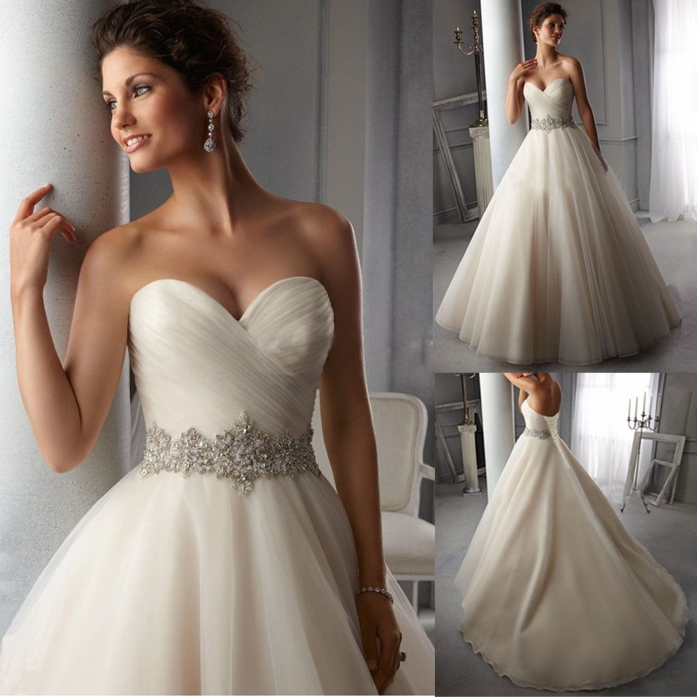 New Custom White Ivory Wedding Dress Bridal Gown Size 6 8 10 12 14 16