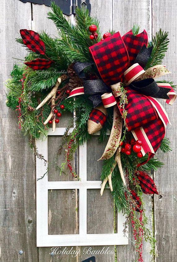Buffalo Plaid Christmas Wreath Rustic Wreath Bufflao Plaid