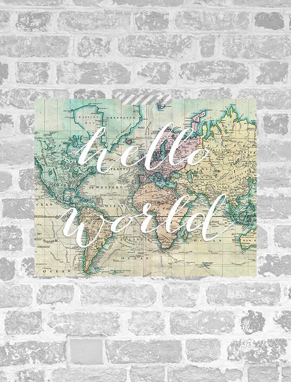 Hello world print world map print art poster nursery poster hello world print world map print art poster nursery poster printable nursery gumiabroncs Image collections