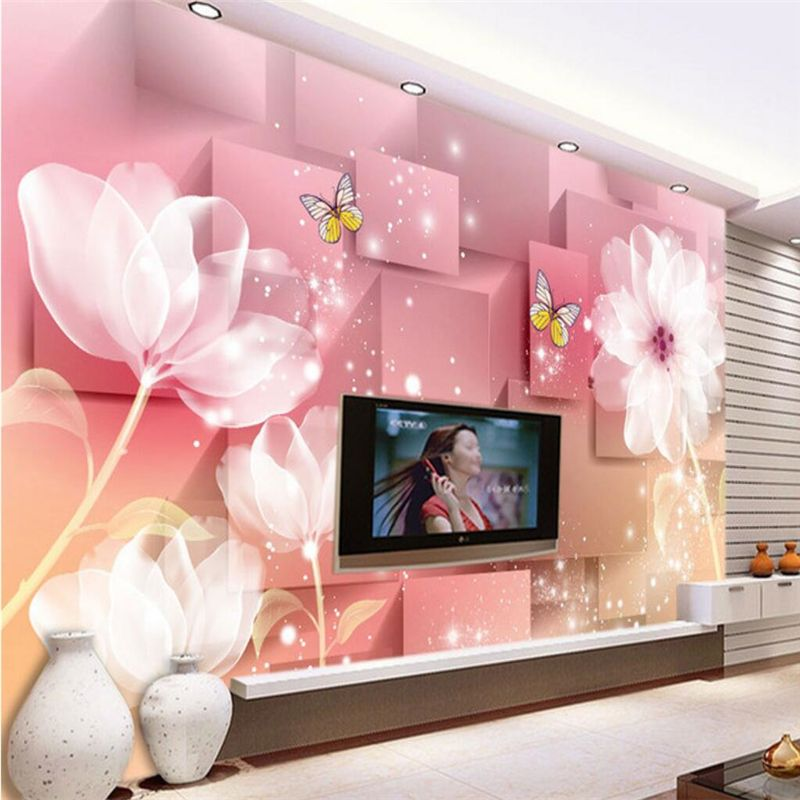 beibehang Dream lily transparent flowers Custom photo wall paper ...