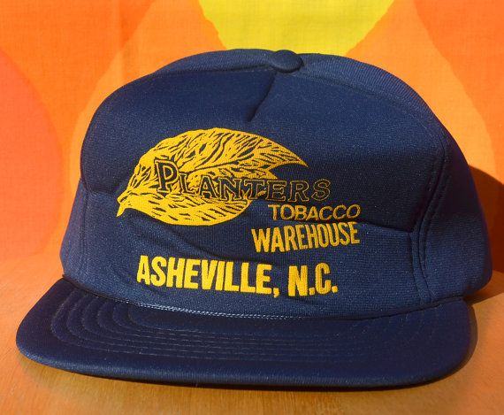 afa9a4d4e60a70 80s vintage foam trucker hat PLANTERS tobacco warehouse asheville nc  snapback navy baseball cap rockstar by skippyhaha
