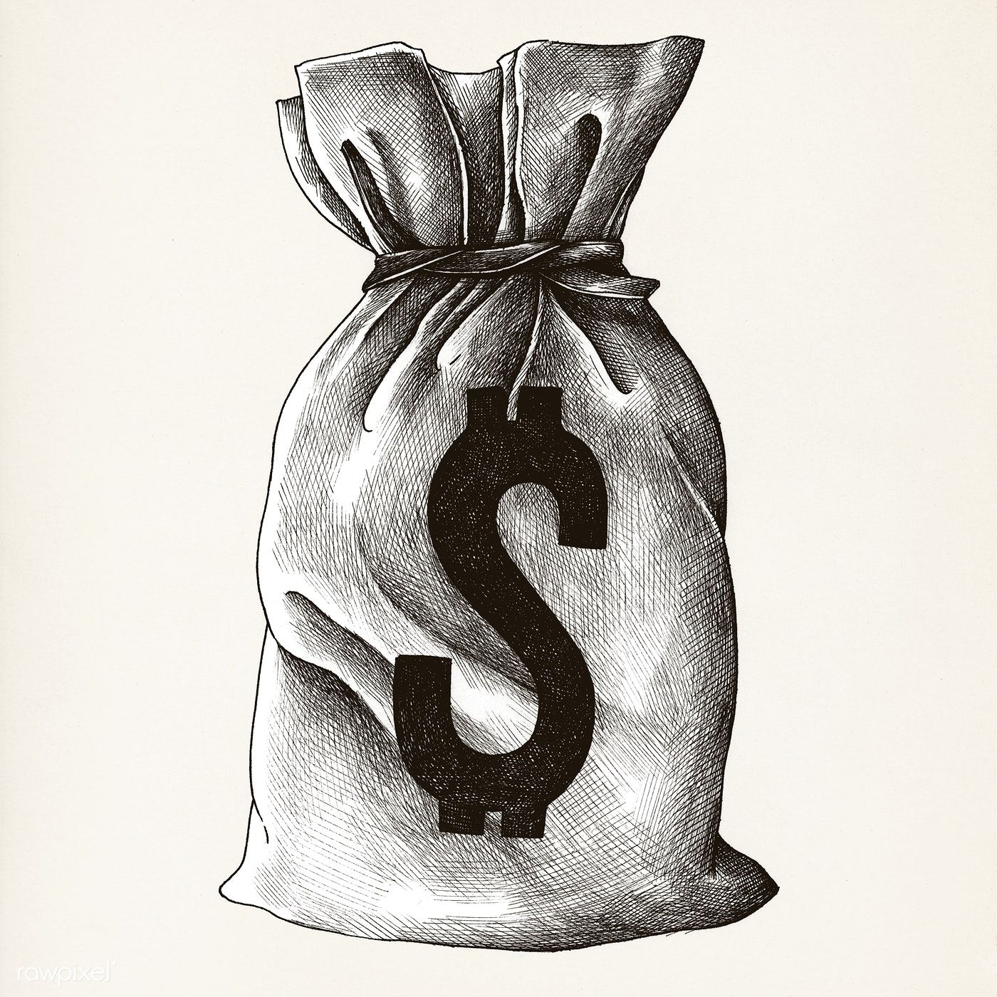 Download Premium Illustration Of Hand Drawn Money Sack Isolated On Money Sack How To Draw Hands Art Poster Design