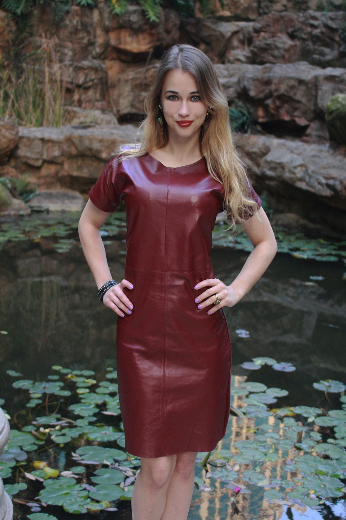 This elegant burgundy leather dress features a soft cashmere back will be  the new centerpiece of your closet. 100% elastic sheepskin leather feels  just as ... efb5e6c803