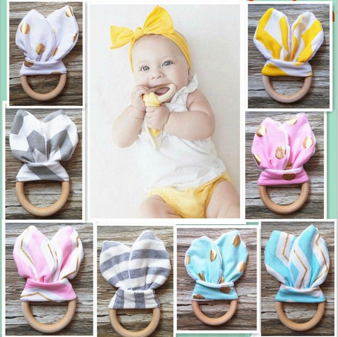 Safety Wooden Natural Baby Teething Ring Chewie Teether Bunny Sensory Toy Gift