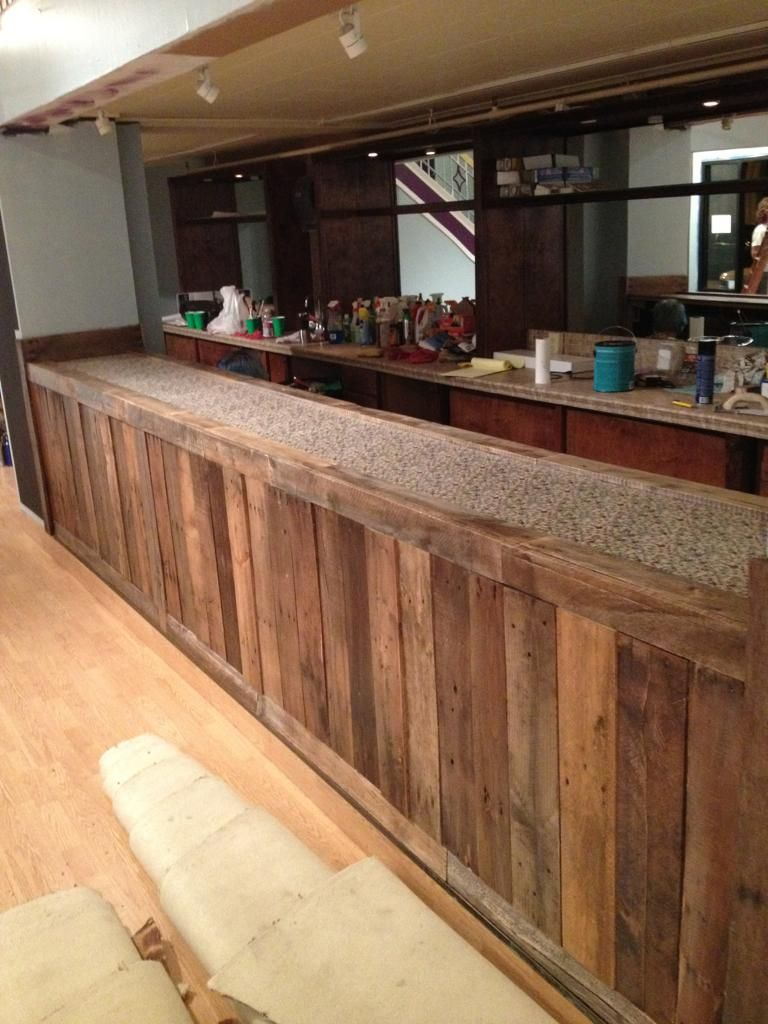 My girlfriend is opening a cafe. She made this bar out of old ...