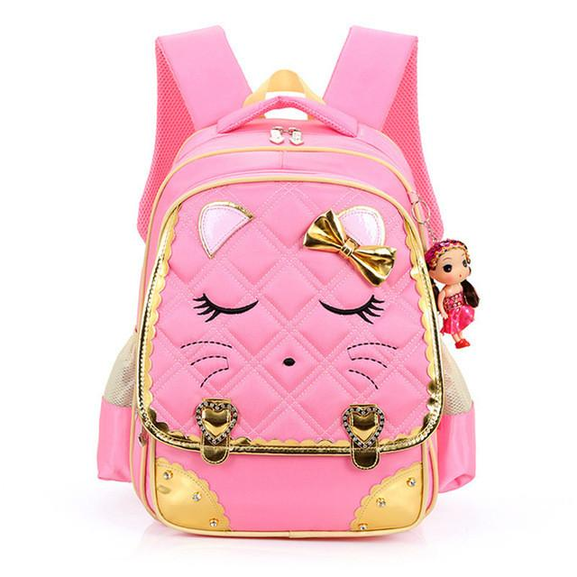 Girls School Bag Children Backpack Pinks Cute Little Face and Bow Girly 7129aa2efffd9