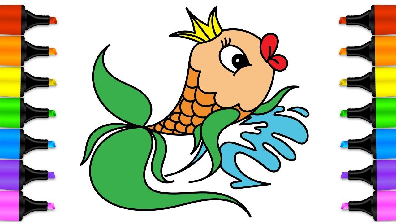 Drawing for kids Fish. Rainbow Fish Coloring Pages. Learn Colors for ...