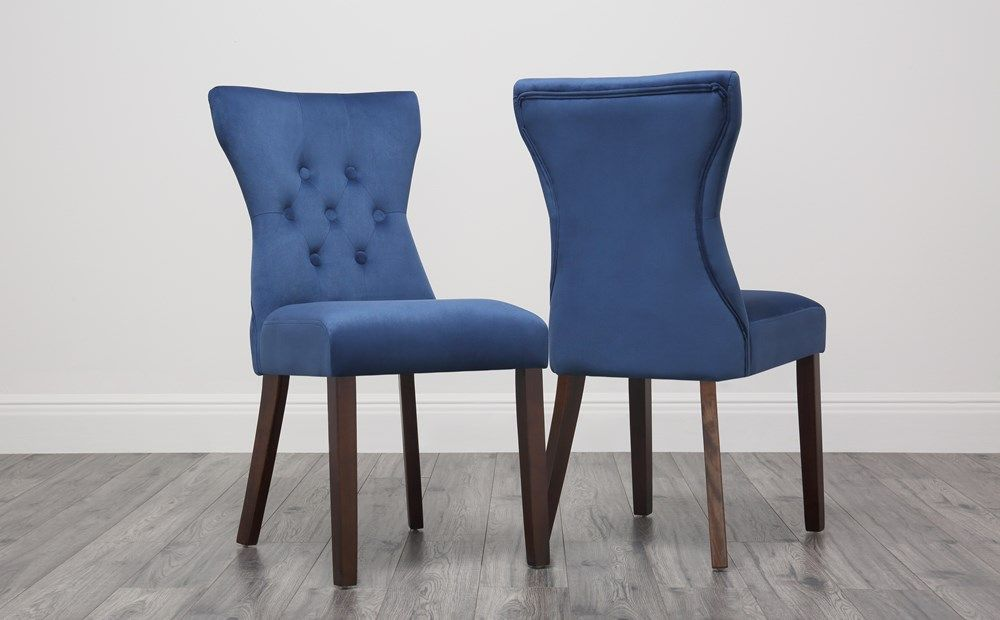 Bewley Blue Velvet Button Back Dining Chair - Dark Leg ...