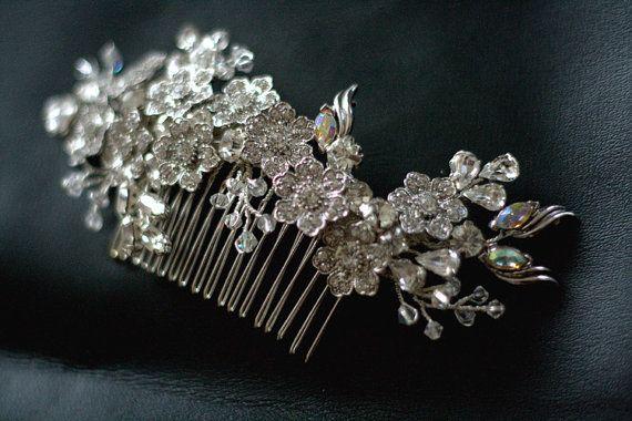 Wedding rhinestone hair comb  Bridal by hairbowswonderworld