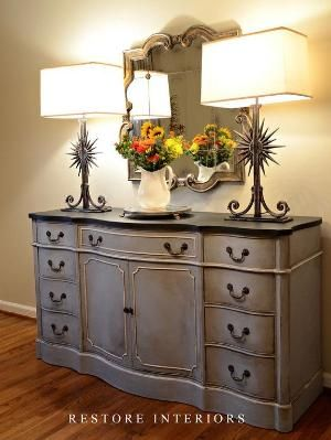 Equal parts of Annie Sloan Chalk paint in paris gray and louise blue. by jenifer