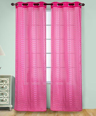 10 99 Marked Down From 29 Neon Pink Wanda Box Voile Curtain Panel