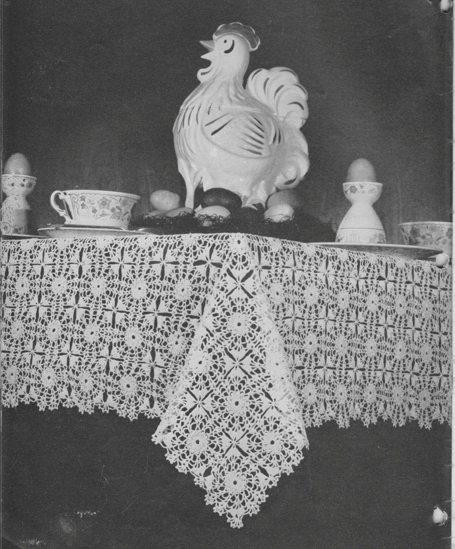350 Vintage 1940\'s Tablecloth Crochet Pattern, Retro Home Decor ...