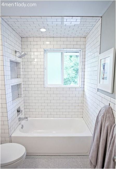 BM's Half Crest Moon gray paint, white subway + gray grout, penny tile  floor The Subway tile in the shower and the hexagonal tile on the floor.
