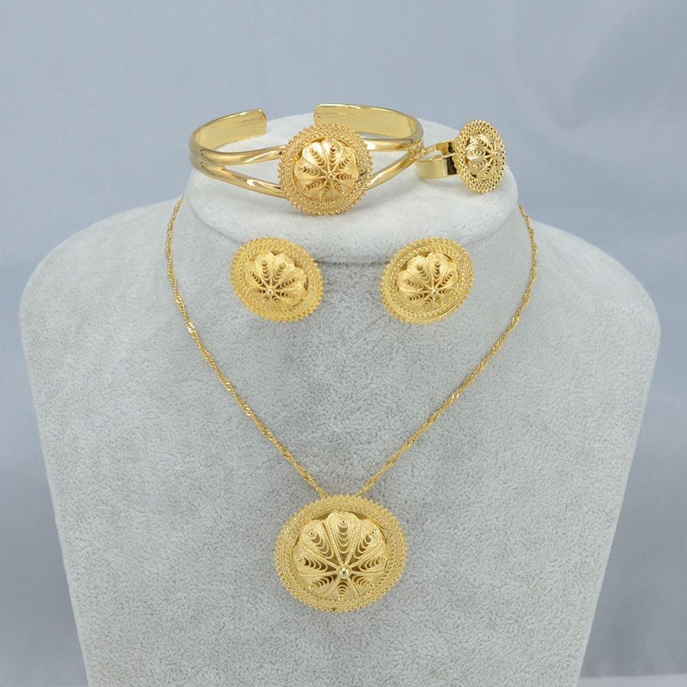 Anniyo habesha sieraden set ethiopische bruids gouden kleur