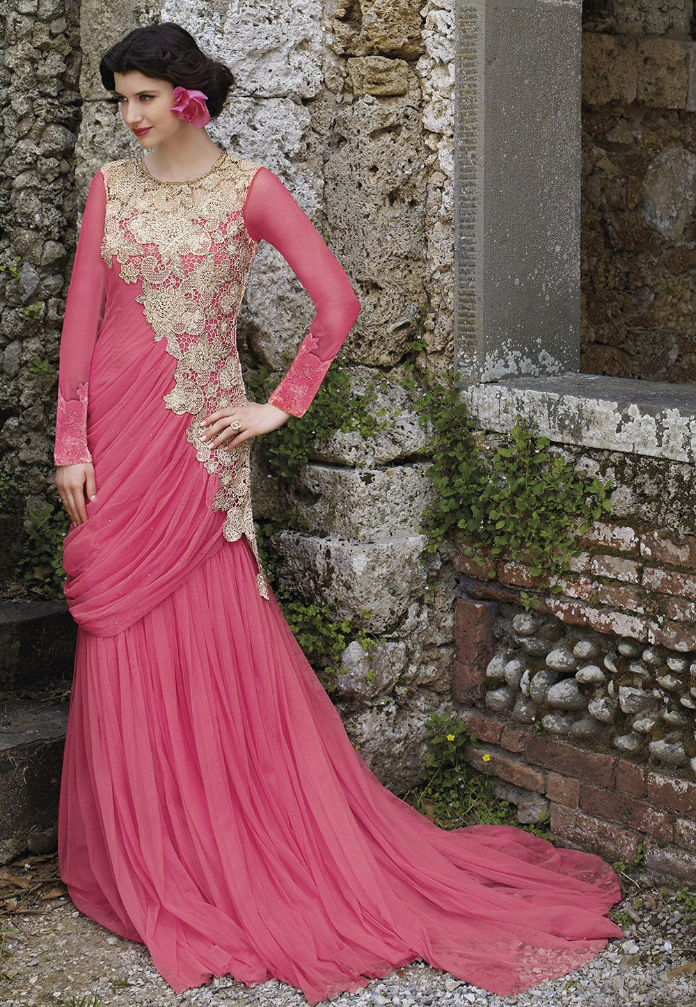 Pink Color Designer Party Wear Long Length Gowns From Skysarees ...
