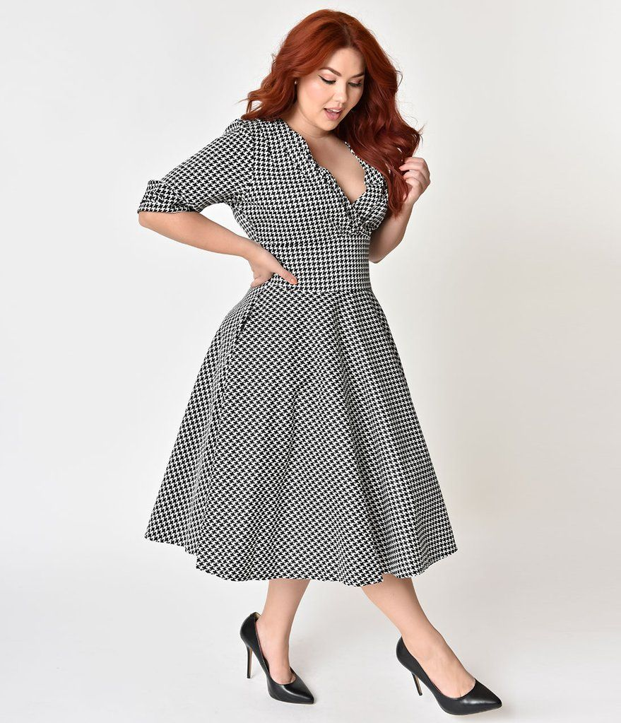 Unique Vintage Plus Size 1950s Black White Houndstooth Delores Swing Dress With Sleeves Plus Size Dresses Plus Size Black Dresses Plus Size Formal Dresses [ 1023 x 879 Pixel ]