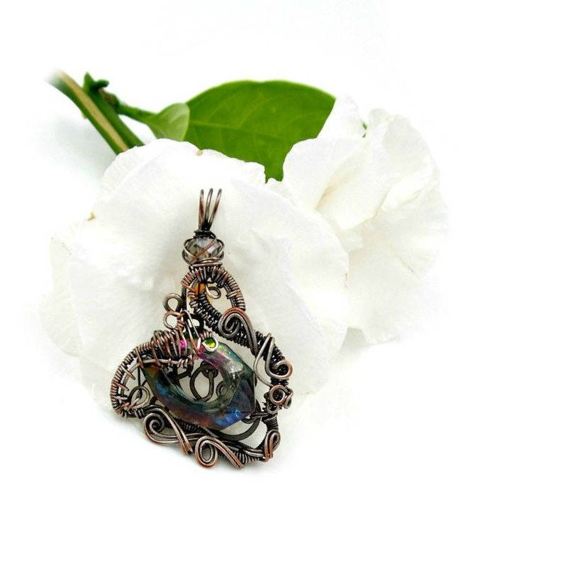 Heady wire wrap sister in law gift, wire wrapped pendant hippie ...