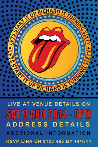 Start Me Up Rolling Stones Birthday Digital Printable Invitation
