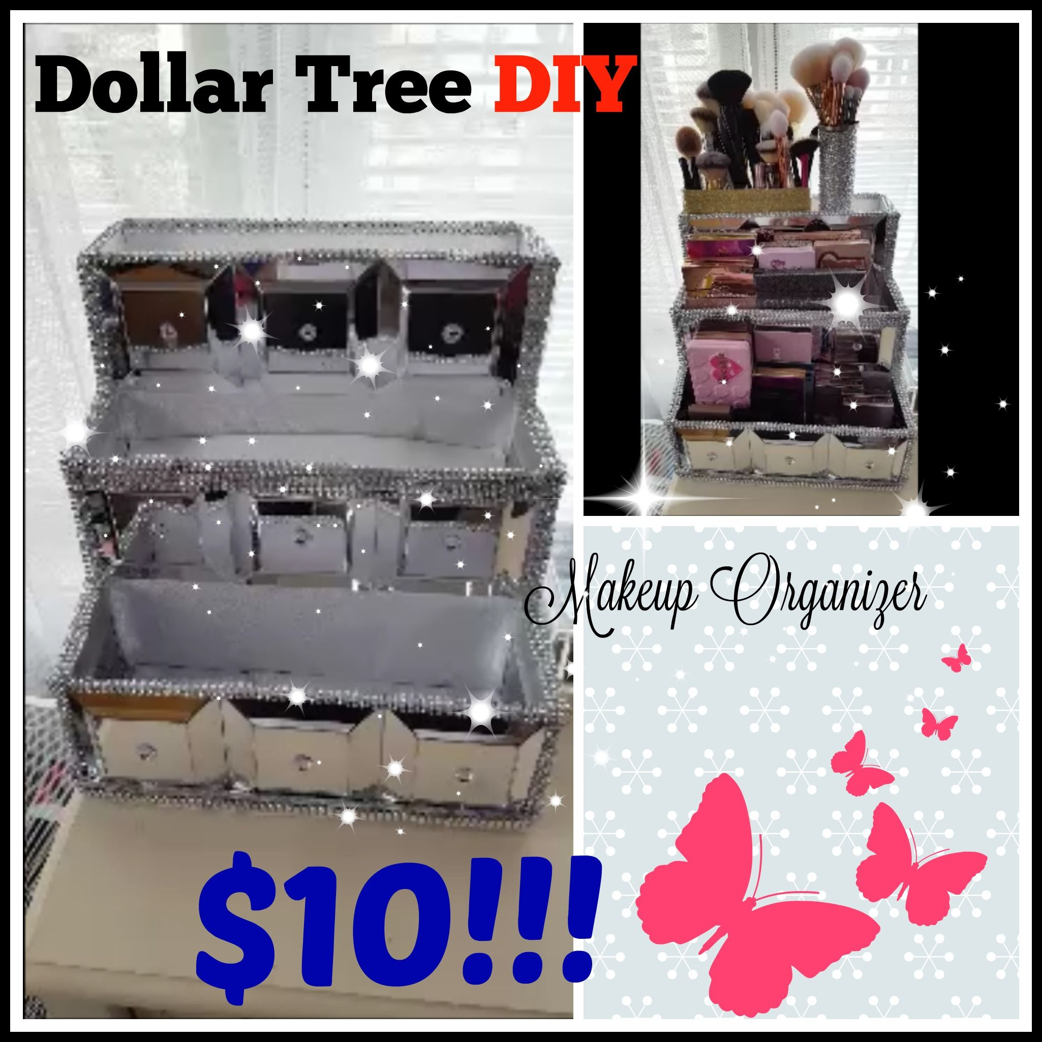 Uploaded To Rachaelcpr On You Tube Diy Makeup Storage Diy Makeup Organ Diy Makeup Storage Organizers Dollar Store Diy Organization Diy Makeup Storage