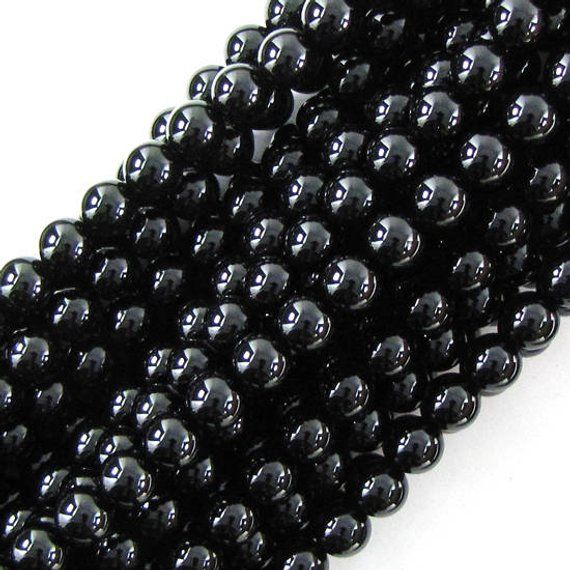 8mm Natural Smooth Black Agate Onyx Round Gemstone Loose Beads 15/'/' Strand AAA