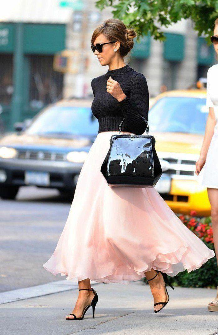 comment porter la jupe tutu jupe tulle jupe rose et sacs noirs. Black Bedroom Furniture Sets. Home Design Ideas