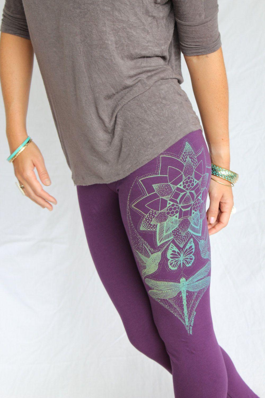 Lotus Yoga Leggings Monarch Butterfly Humming Bird Leggings Mint