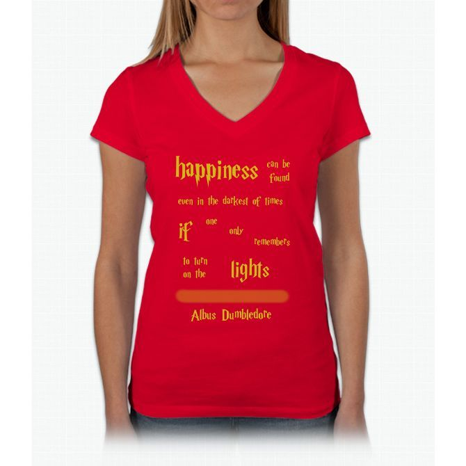 Dumbledore Happiness Quote Harry Potter Womens V-Neck T-Shirt