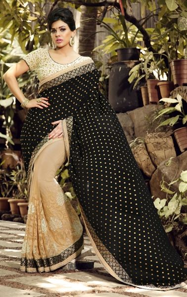 Picture of Exquisite Black and Tan Brown Saree