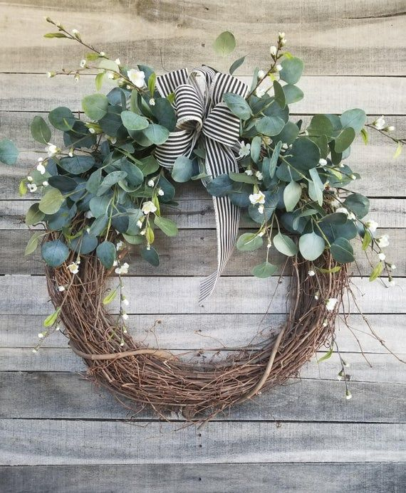 Photo of 26″ Eucalyptus Wreath with a touch of little white flowers Wreath for All Year Round – Everyday Burlap Wreath, Door Wreath, Wedding Wreath