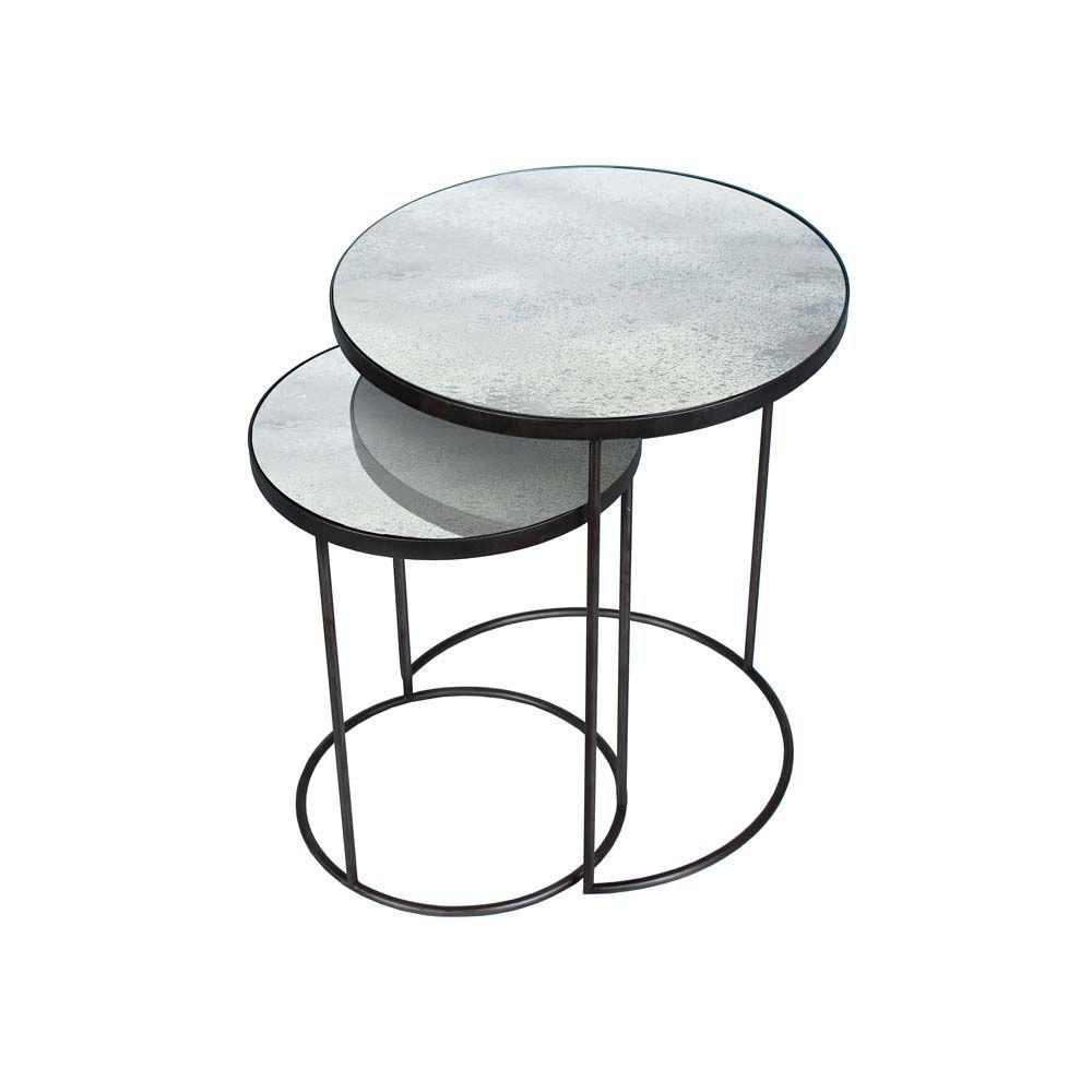 Notre Monde Beistelltische Rund Glossy Metall Glas 2er Set Schwarz Grau Beistelltisch 2er Set Beistelltische Und Beistelltisch Rund