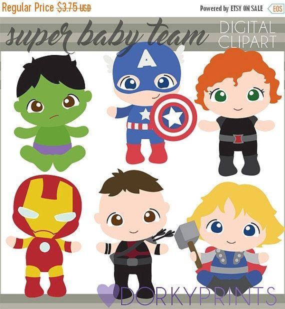 LABOR DAY SALE Superhero Babies Clip art Personal от DorkyPrints