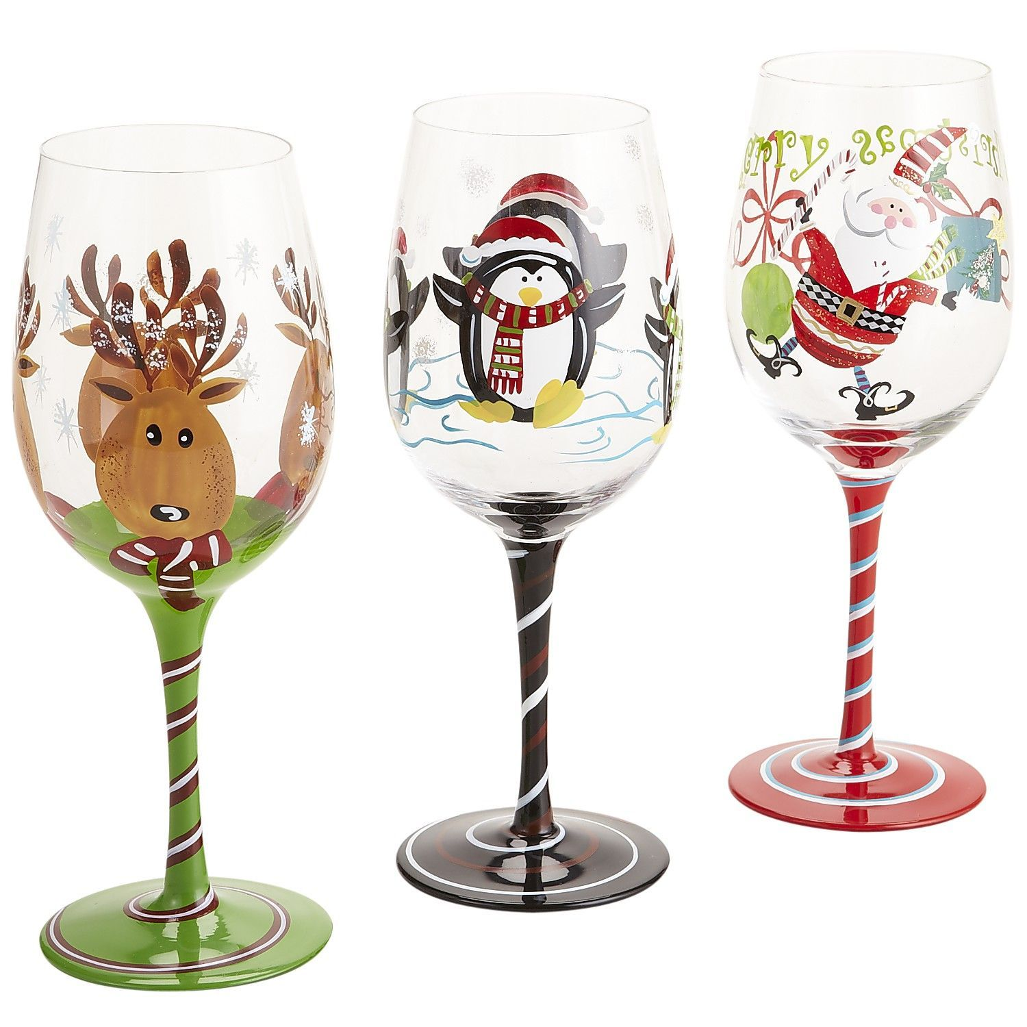 Gift Ideas That Are Sure To Delight Anyone On Your List Christmas Wine Glasses Hand Painted Wine Glasses Christmas Wine