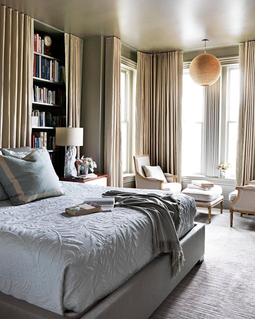 Bed against the window  k likes  comments  house beautiful housebeautiful on