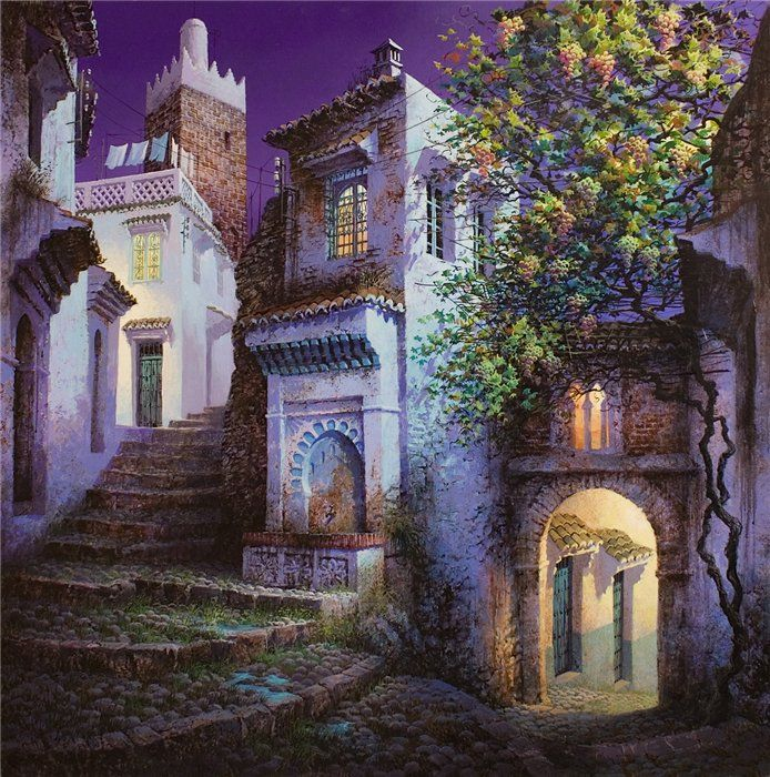 Luis Romero Spanish Painter Was Born In Ronda Malaga Spain Romero Is Successful Participated In Many I Colorful Landscape Landscape Poster Spanish Painters