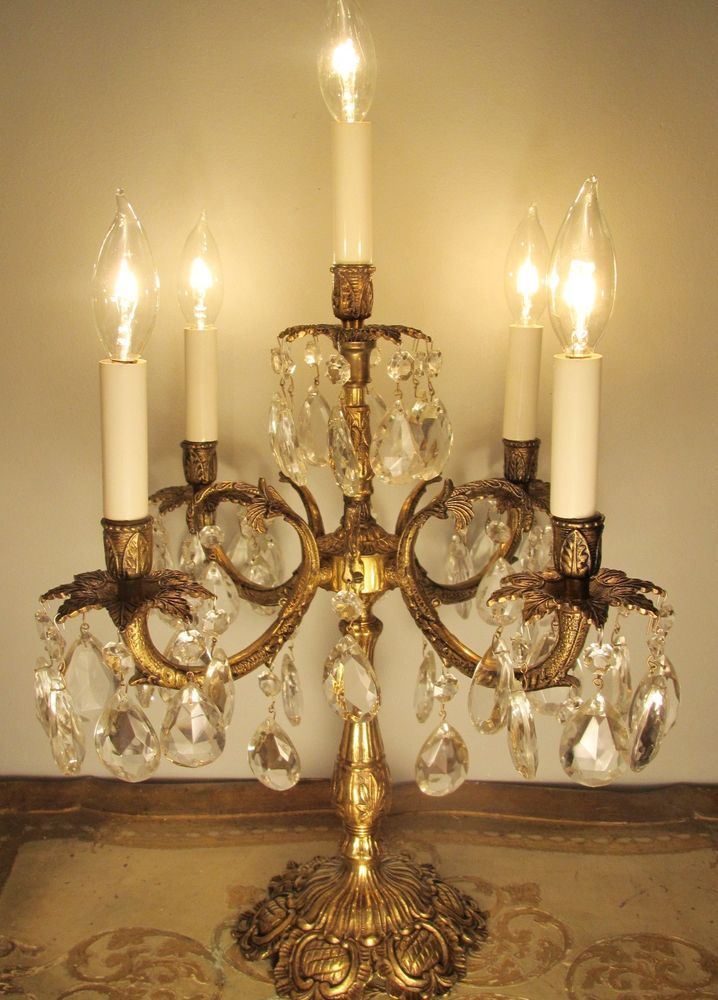 Vintage Candelabra Table Lamp Solid Brass & Crystals ~ 5 ...