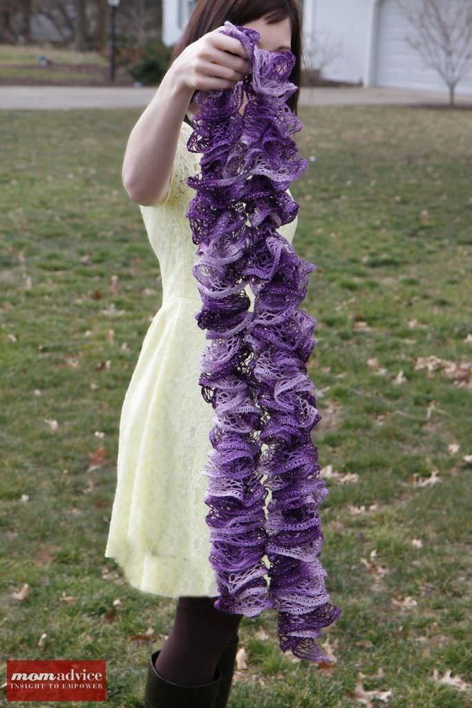 Easy Knitted Ruffled Scarf With Sashay Yarn | Pinterest