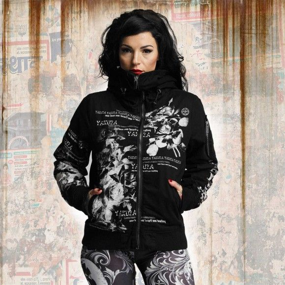 Yakuza FLOWER HEAVY BOMBER WINTER JACKET dámska bunda GJB 10133 black ea699cf0b6e