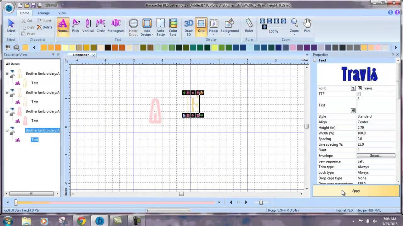 Sewing Sequence In Bes Embroidery Lettering Software Machine
