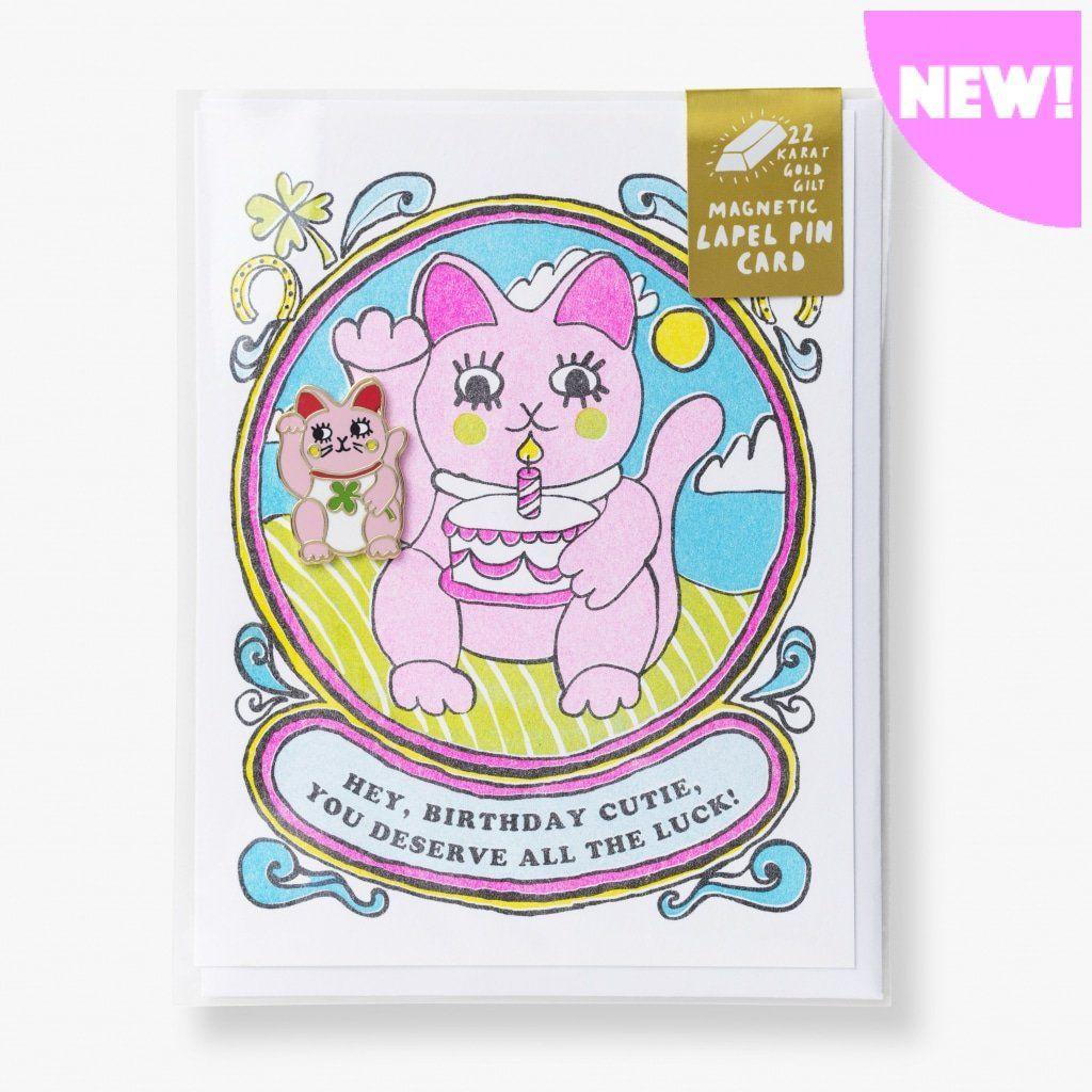 Cutie Lucky Birthday Lapel Pin Card in 2020 Pin card