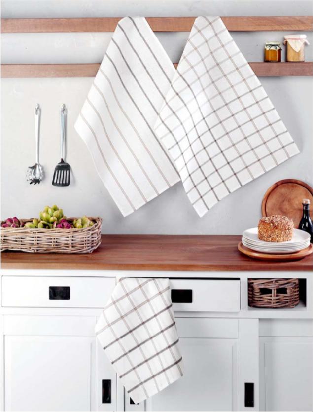 White cotton plaid kitchen towels   Kitchen towels, Tea ...