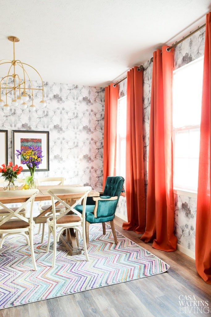 modern bohemian dining room with orange curtains and teal accent bohemian dining room dining on boho chic decor living room bohemian kitchen id=39539