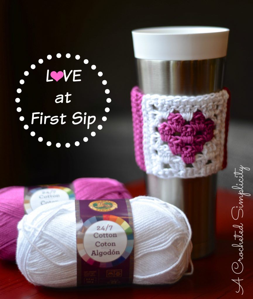 Free Crochet Pattern - Love at First Sip Coffee Sleeve | cup cozies ...