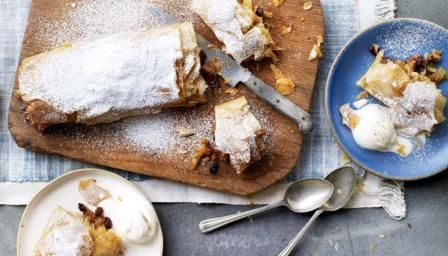 Sweet and spiced, this strudel is a winner. Be sure to melt the butter used to separate the layers of pastry, as this makes for a great flaky crust.