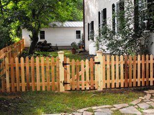 Western red cedar picket fence