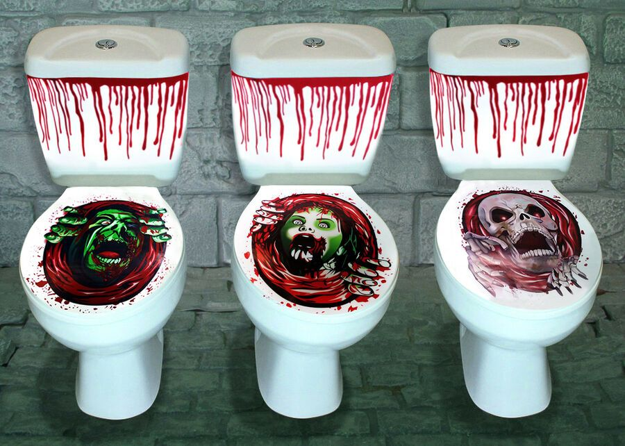 HALLOWEEN SCARY SKULLl CLOWN TOILET SEAT COVER STICKER HORROR PARTY DECORATION