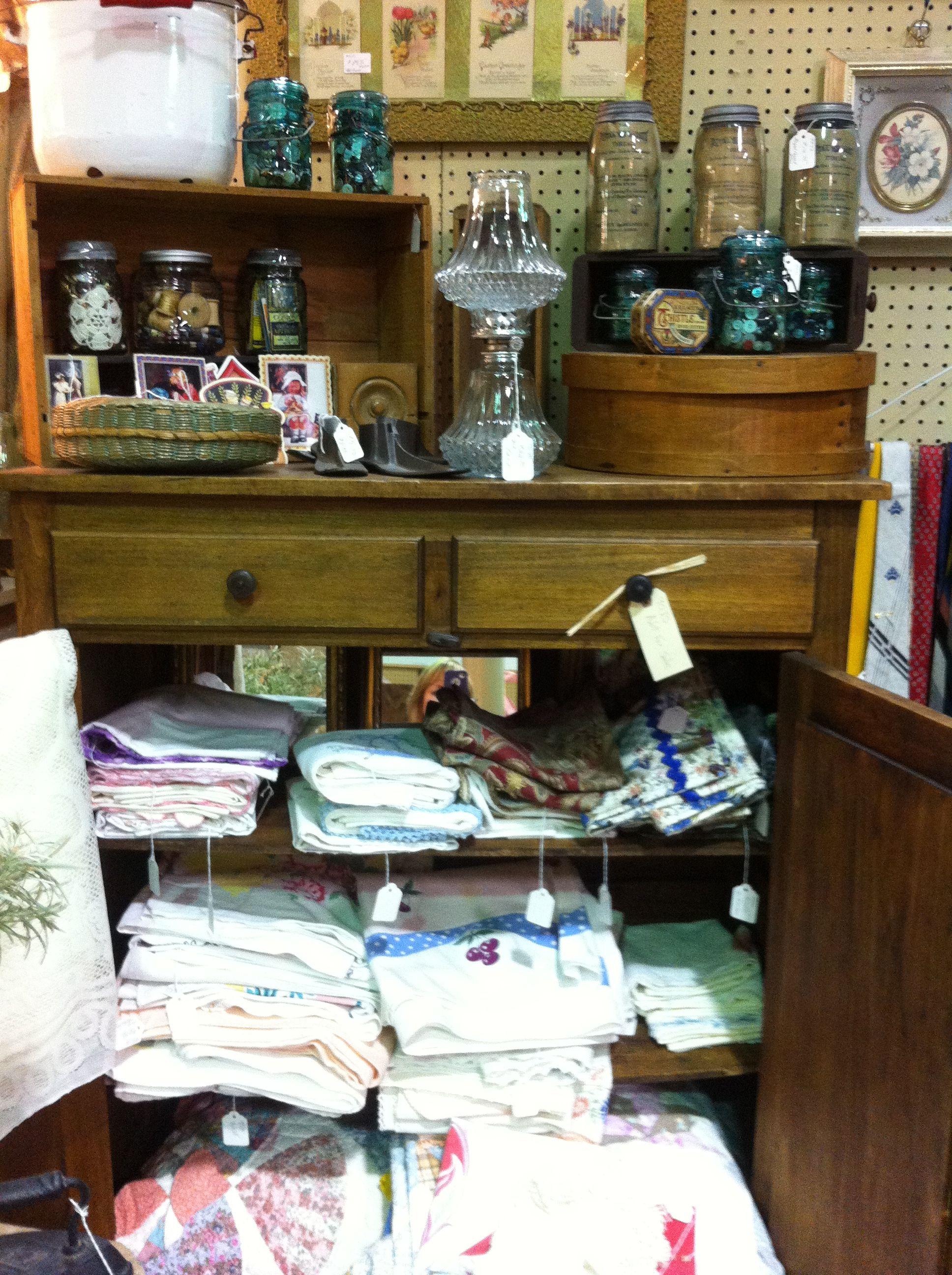 Vintage linens from our dealer 95 JS at Jesse James Antique Mall