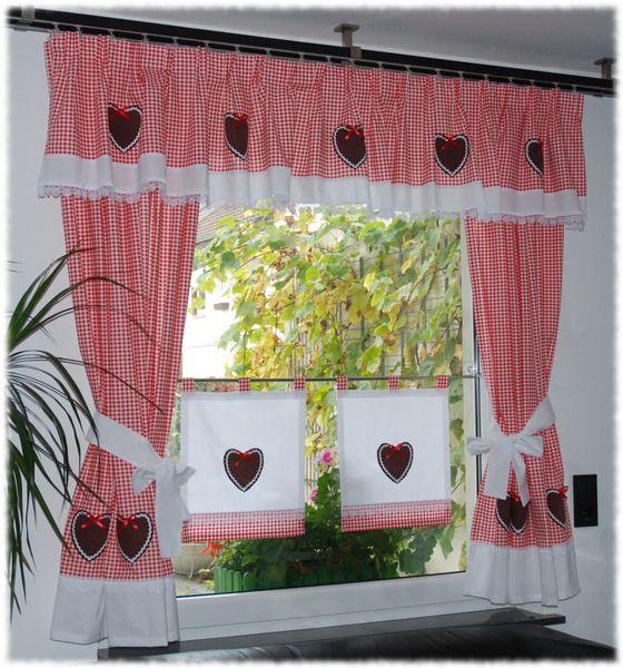 landhaus gardinen set 7 tlg rot von dekostudio. Black Bedroom Furniture Sets. Home Design Ideas
