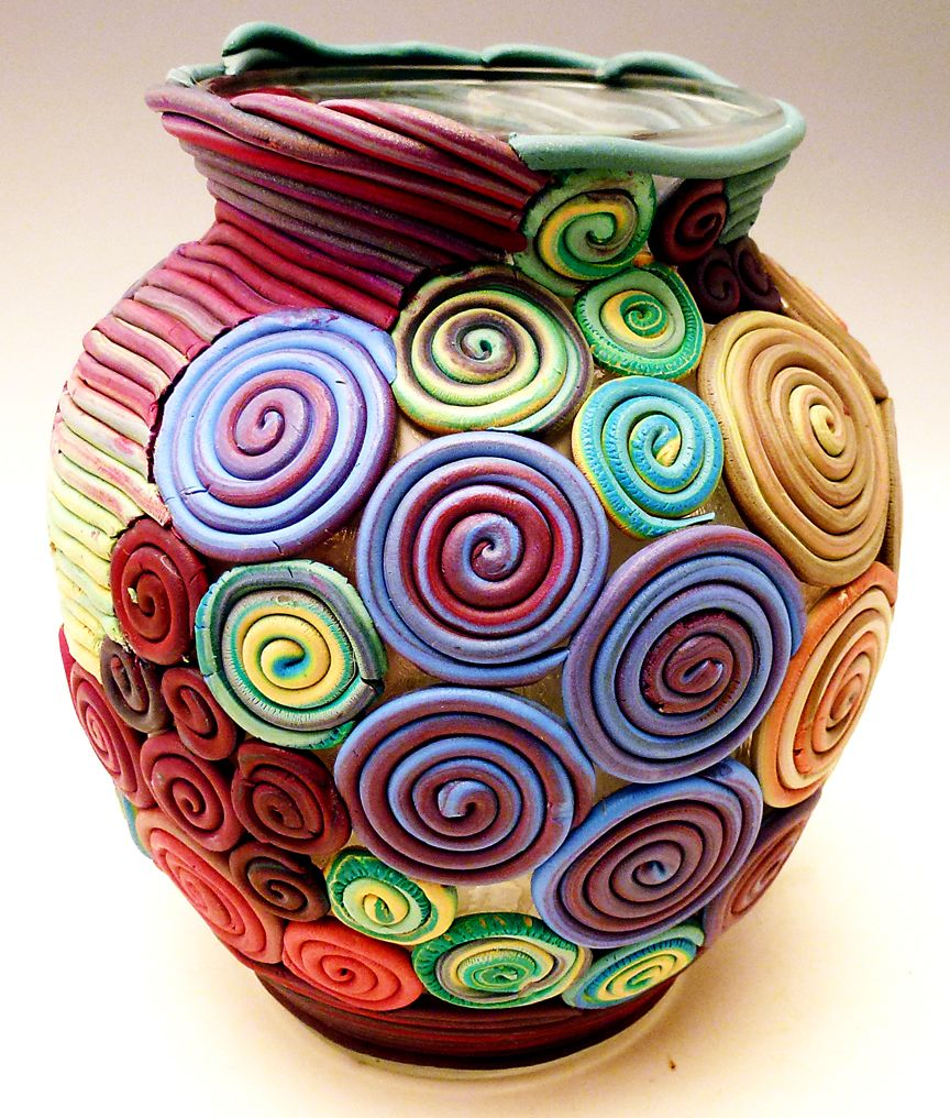 Beautiful polymer clay vase colorfull create a beautiful polymer clay vase design appliqued over a glass vessel and take home a unique piece of art once you learn this easy technique reviewsmspy