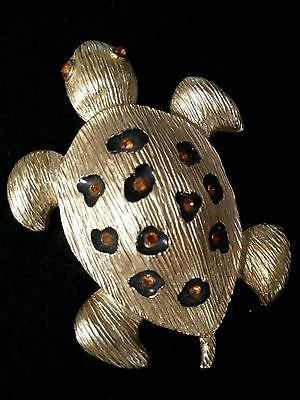 "Vintage Turtle  Brooch with Amber Rhinestones 3.25"" x 2.25""."