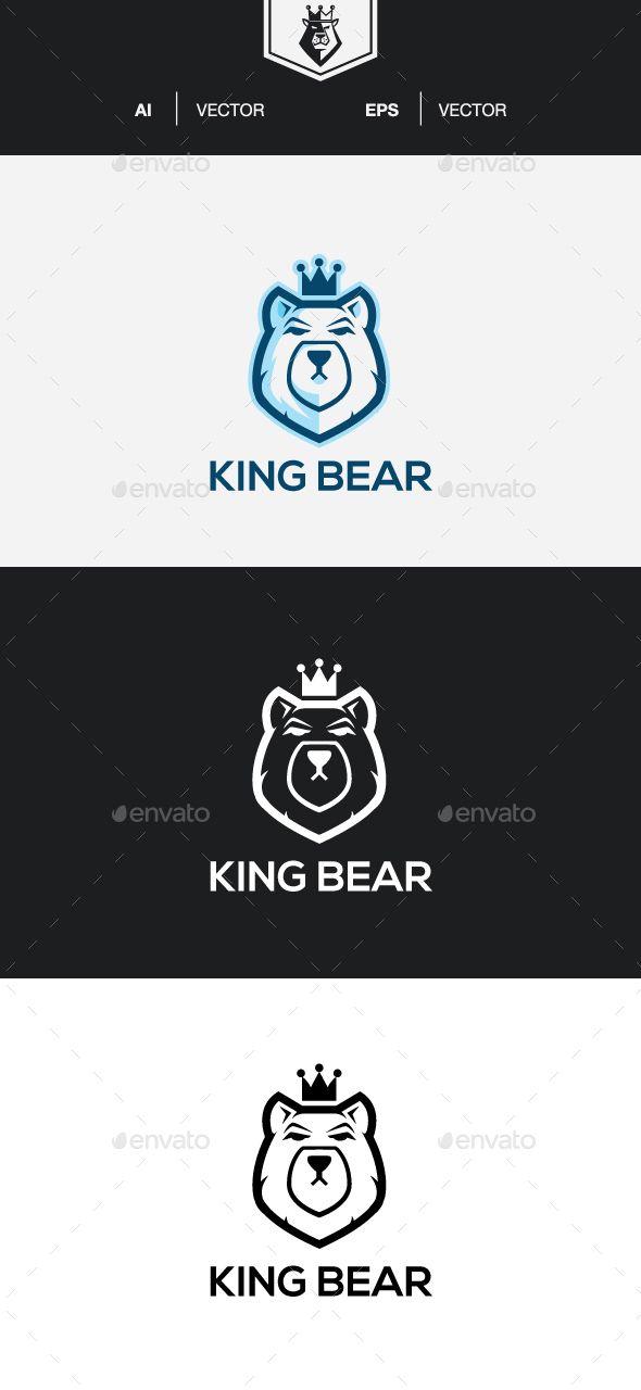king bear logo template vector eps ai illustrator logo templates
